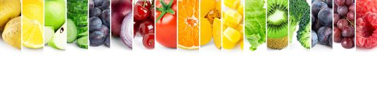 Collage of color fruits and vegetables Stock Image