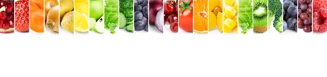 Collage of color fruits and vegetables Royalty Free Stock Photo