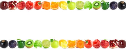 Collage of color fruits and vegetables Stock Photography