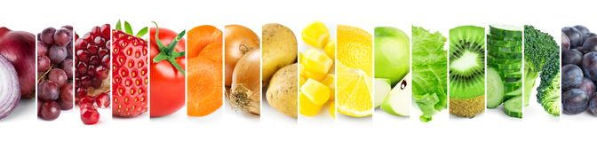 Collage of color fruits and vegetables stock photos