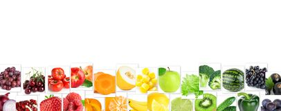 Collage of color fruits and vegetables royalty free stock images