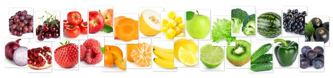 Collage of color fruits and vegetables royalty free stock photos