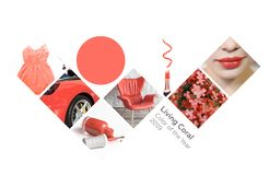 Collage Color of the year 2019 Living Coral. Livingcoral royalty free stock photography