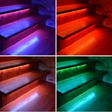 Collage of colored illuminated wooden stairs. Blue, red, white, green Stock Photo