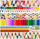 Collage of colored pencils. Stock Photo