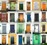 24 colorful doors in Norway. A collage of colorful ancient doors from Bergen in Norway Royalty Free Stock Photography