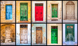 Collage of  colorful antique maltese doors. Horizontal Stock Image