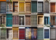 Collage with colorful blinds from Athens stock photography