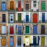Collage of colorful doors in Bruges, Belgium. Great collage of 24 colorful entrance doors in Bruges, Belgium Royalty Free Stock Image