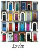 Collage of colorful doors in London. A collage of English doors, presented in a white border with the city name London Royalty Free Stock Photo