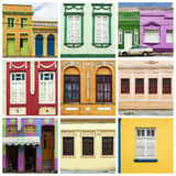 Collage of colorful house and windows Royalty Free Stock Photos