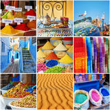 Collage with colorful Moroccan photos Royalty Free Stock Photos