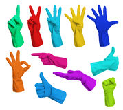 Collage of colorful rubber gloves Royalty Free Stock Photos