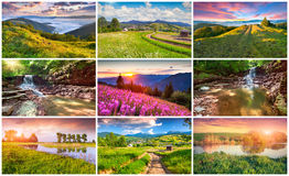 Collage with 9 colorful summer landscapes. Stock Image