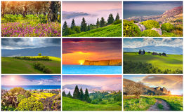 Collage with 9 colorful summer landscapes. Stock Photo