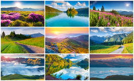 Collage with 9 colorful summer landscapes. Stock Photography