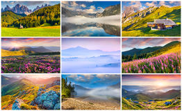 Collage with 9 colorful summer landscapes. Royalty Free Stock Images