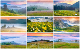 Collage with 9 colorful summer landscapes. Royalty Free Stock Photos