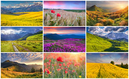 Collage with 9 colorful summer landscapes. Royalty Free Stock Image