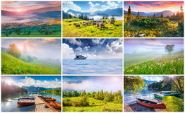 Collage with 9 colorful summer landscapes. Stock Photos