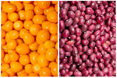 Collage of colorful vegetables and fruits grocery Stock Photography