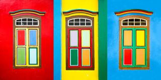 Collage of 3 colorful windows on a house in Little India, Singapore Royalty Free Stock Images