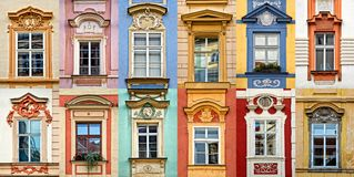 Collage of colorful windows with pediment of Prague Czech Republic. Collage of colorful windows with pediment of Prague, Czech Republic Stock Photography