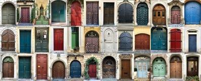 Collage colorido de puertas imagen de archivo