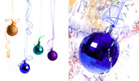 Collage the colors new year balls Royalty Free Stock Photography
