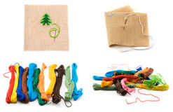 Collage colour threads and bit fabrics Royalty Free Stock Photography