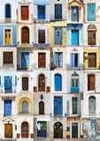 Collage of 36 colourful front doors from Karpathos. Royalty Free Stock Image