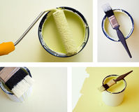 Collage combination DIY home improvement paint. Collage combination of DIY home improvement paint bucket and roller brush Stock Image