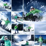 Collage composed of a few different images. Snowboarder theme collage composed of a few different images stock photo