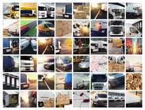 Collage composition with vans and trucks. Concept of transport and logistic stock photos