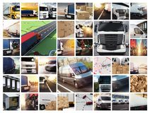 Collage composition with vans and trucks. Concept of transport and logistic. And fast delivery stock photos