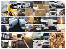 Collage composition with vans and trucks. Concept of transport and logistic. And fast delivery royalty free stock image