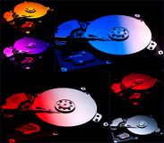 Collage. computer hard drives stock photo