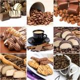 Collage con café, chocolate y galletas Fotografía de archivo libre de regalías