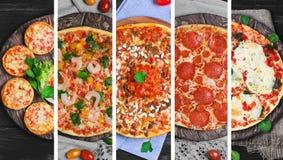 collage con cinque tipi differenti di pizze Fotografie Stock Libere da Diritti