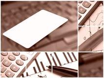 Collage con de la tarjeta de crédito (rojo) imagen de archivo libre de regalías