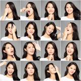 Collage con differenti emozioni nella stessa giovane donna fotografie stock libere da diritti