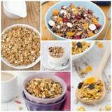 Collage con differenti generi di granola casalingo Fotografia Stock