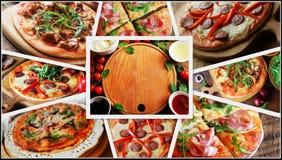 Collage con differenti tipi di pizze Ingredienti alimentari per pizza sulla tavola di legno Vista superiore Immagine Stock Libera da Diritti