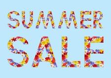 Collage con el modelo de flores Texto: venta del verano Fotos de archivo