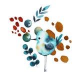 Collage con el pájaro de la acuarela ilustración del vector