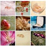 Collage con gli anelli Fotografie Stock Libere da Diritti