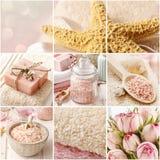 Collage con i cosmetici rosa della stazione termale Fotografia Stock