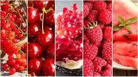 Collage con i frutti differenti, bacche di colore rosso Fotografia Stock