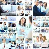 Collage con il lavoro delle persone di affari Fotografia Stock