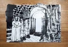 Collage con il monaco anziano nelle cantine del monastero Fotografia Stock